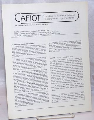 CAFIOT: Committee for Academic Freedom in the Israeli Occupied Territories [single issue of the...