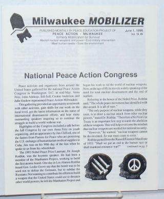 Milwaukee Mobilizer. Vol. 19 no. 6 (June 1, 1996