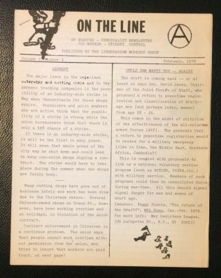 On the Line: an anarcho-syndicalist newsletter for worker-student control. Vol. 2 no. 1 (February...