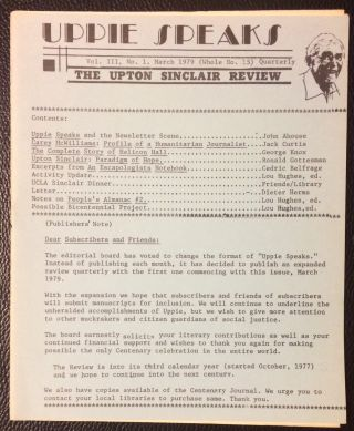 Uppie Speaks: the Upton Sinclair Review. Vol. 3 no. 1 (March 1979