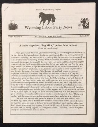 Wyoming Labor Party News. Vol. 4 no. 6 (June, 1999