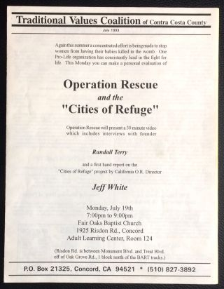 Traditional Values Coalition of Contra Costa County. July 1993 (newsletter with two leaflets laid in
