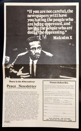 Flyer advertising the Peace Newsletter, with Malcolm X photo and quote