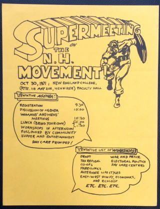 Supermeeting on the N.H. Movement. Oct. 30, 1971. New England College [handbill
