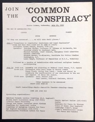 Join the 'Common Conspiracy.' Boston Common, Wednesday, July 10, 1968. The day of sentencing for:...