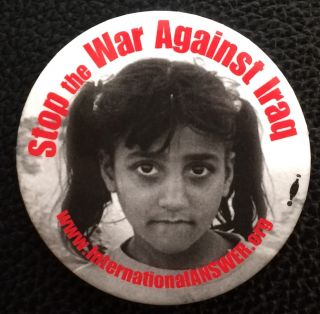 Stop the war against Iraq [pinback button