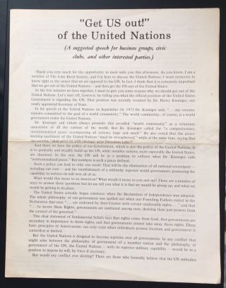 """Get US out!"" of the United Nations. (A suggested speech for business groups, civic clubs, and..."