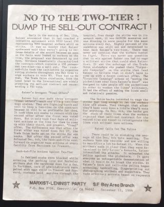 No to the two-tier! Dump the sell-out contract! [handbill