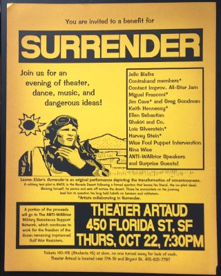 You are invited to a benefit for Surrender. Join us for an evening of theater, dance, music, and...