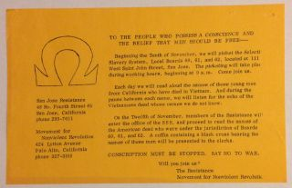 To the people who possess a conscience and the belief that men should be free... [leaflet
