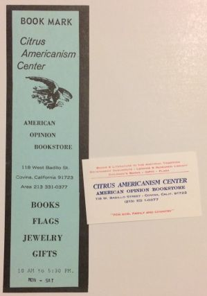Book mark and business card]. Citrus Americanism Center / American Opinion Bookstore