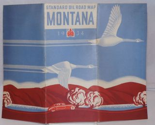 Standard Oil Company (Indiana) 1934 Official Road Map Montana. Montana