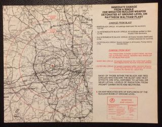 Handbill with two maps showing casualties in the Boston area that would result from a nuclear...