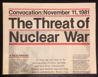 Convocation: November 11, 1981. The threat of nuclear war