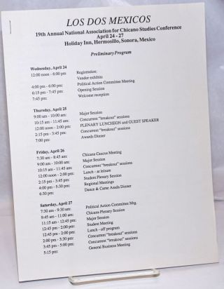 Los Dos Méxicos: 19th Annual National Association for Chicano Studies Conference Hermosillo,...
