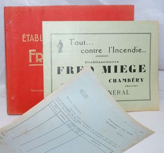 Establissements Fred Miege [catalog, price list, order form and two folders]