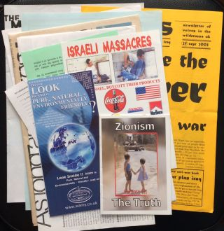 Group of sixteen items collected at the March for Justice, a Sept. 28, 2002 anti-war...