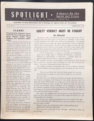 Spotlight: A report on the Smith Act Trials. Vol. 1 no. 5 (February 1954