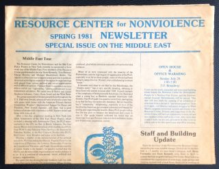 Resource Center for Nonviolence. Spring 1981 newsletter: Special issue on the Middle East
