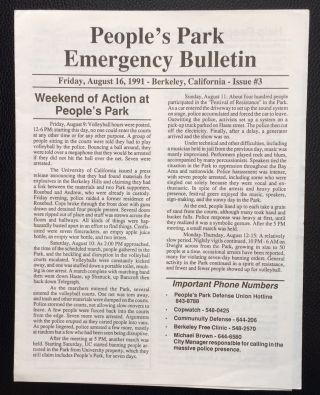 People's Park Emergency Bulletin. No. 3 (August 16, 1991
