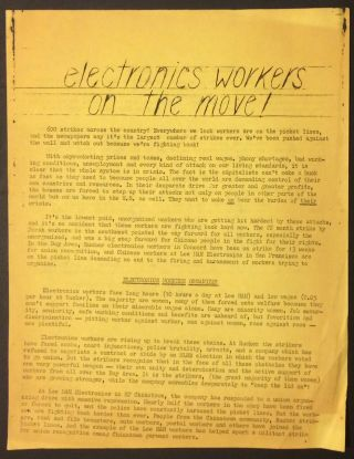 Electronics workers on the move! [handbill