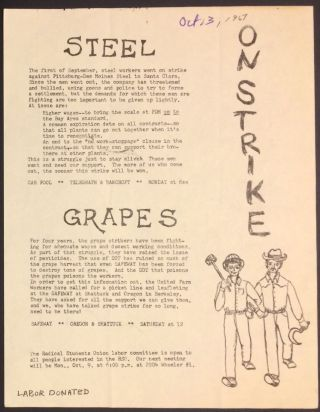 On strike. Steel / Grapes [handbill