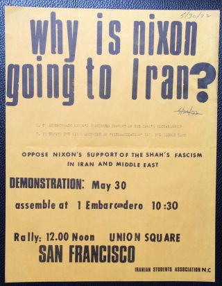 Why is Nixon going to Iran? ... Oppose Nixon's support of the Shah's fascism in Iran and Middle...