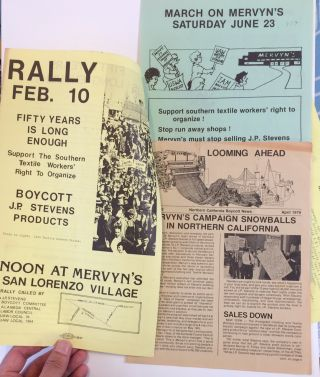 Three items related to protests at Mervyn's retail stores for carrying boycotted J.P. Stevens...