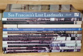 """One dozen nifty paperbacks in fine shape, eight from the """"Images of America"""" series and four similar, to wit: San Francisco's Noe Valley; San Francisco's Castro; San Francisco's West of Twin Peaks; San Francisco California; San Francisco Art Deco; San Francisco's Glen Park and Diamond Heights; San Francisco's West Portal Neighborhoods; Early Mendocino Coast; San Francisco State University; Unique Places in San Francisco; San Francisco's Lost Landmarks; Santa Cruz Coast."""