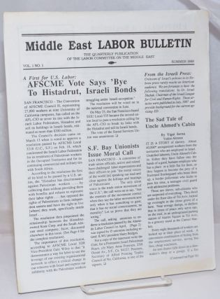 Middle East labor bulletin: Vol. 1, No. 1, Fall Summer 1988