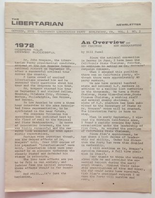 The Libertarian Newsletter. Vol. 1 no. 2 (October 1972