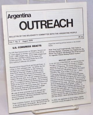 Argentina Outreach: Bulletin of the Solidarity Committee with the Argentine People; Vol. 1, No....