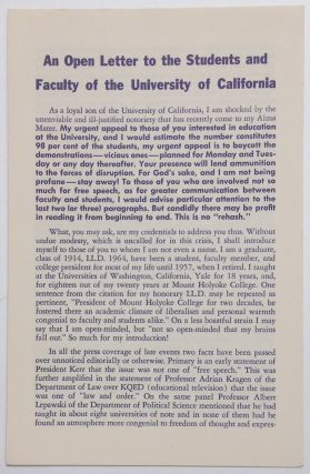 An open letter to the students and faculty of the University of California. Roswell G. Ham, Jr