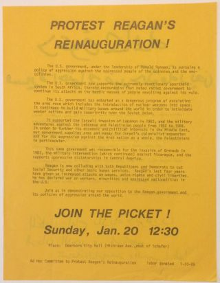 Protest Reagan's reinauguration! [handbill in English and Arabic
