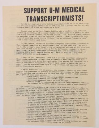 Support U-M medical transcriptionists! [handbill