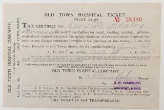 Old Town Hospital Ticket