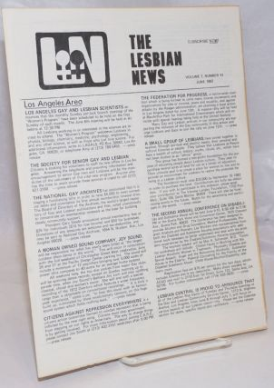 The Lesbian News vol. 7, #11, June 1982. Jinx Beers, Betsy York Dorothy LaRose, Reba Harris