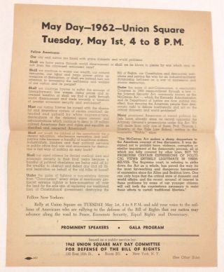 May Day - 1962 - Union Square / Primero de Mayo - 1962 - Union Square [handbill