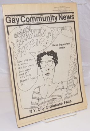 GCN: Gay Community News; the weekly for lesbians and gay males; vol. 9, #20, December 5, 1981;...