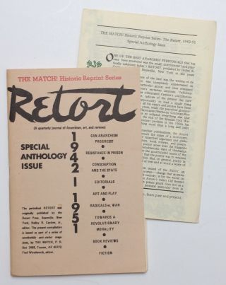 Retort, Special anthology issue, 1942-1951 (a quarterly journal of anarchism, art, and reviews)....
