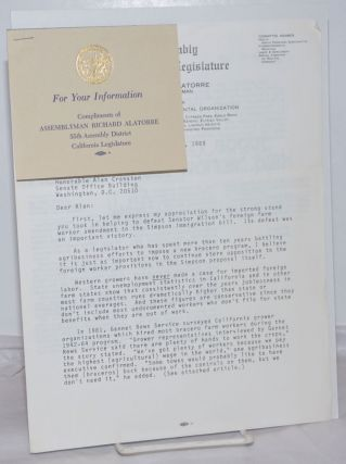 Letter from Assemblyman Richard Alatorre to Senator Alan Cranston on his stand against the Reagan...