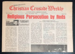 Christian Crusade Weekly, Vol. 12 no. 8 (January 2, 1972). An International Christian Newspaper....