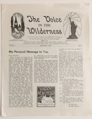 The Voice in the Wilderness. Vol. 1 no. 3 (January 1973
