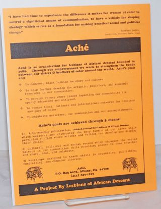 Aché: a Project by Lesbians of African Descent [handbill