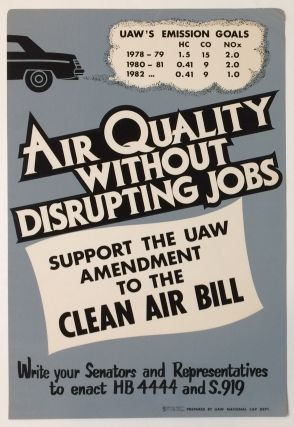 Air quality without disrupting jobs / Support the UAW amendment to the Clean Air Bill [poster
