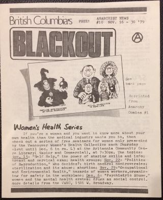 British Columbia's Blackout. Anarchist news. No. 10 (Nov. 16-30, 1979
