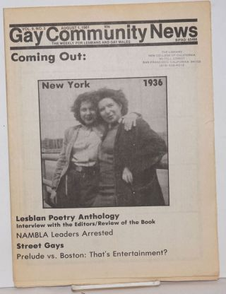 GCN: Gay Community News; the weekly for lesbians and gay males; vol. 9, #3, August 1, 1981;...