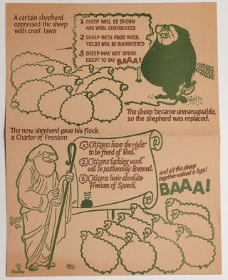A certain shepherd oppressed the sheep with cruel laws... [handbill