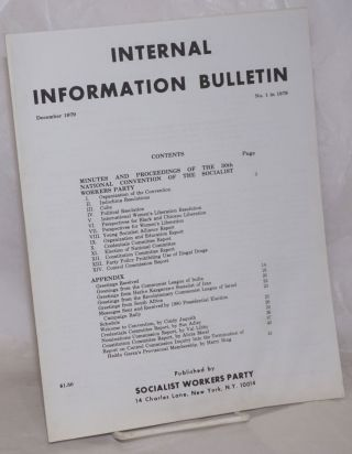 Internal Information Bulletin, December 1979, No. 1. Socialist Workers Party