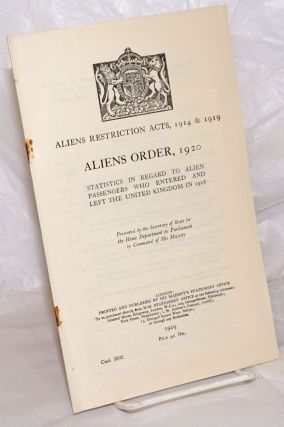 Aliens Restriction Acts, 1914 & 1919. Aliens Order, 1920. Statistics in Regard to Alien...